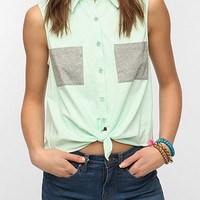 Sparkle & Fade Colorblock Tie-Front Top