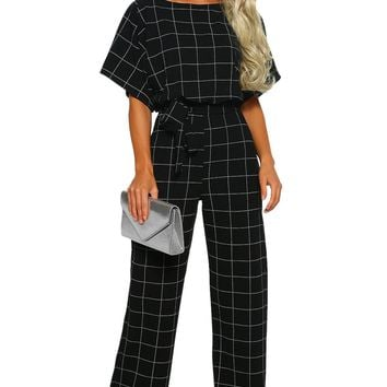 Black Boat Neck Short Sleeve Checked Belted Wide Leg Jumpsuit