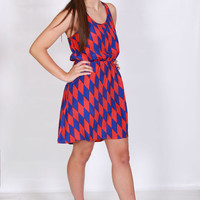 Red and Blue Checkered Hi-Lo Dress