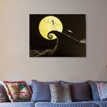 Jack Skellington Nightmare Before Christmas Original Acrylic Canvas  Painting 18u0027x24