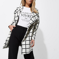 Cream check print fallaway jacket - coats / jackets - sale - women