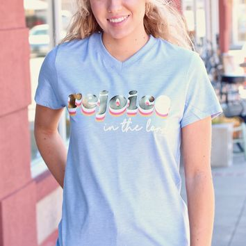 Rejoice in the Lord Retro V-neck Tee {Steel Quartz}