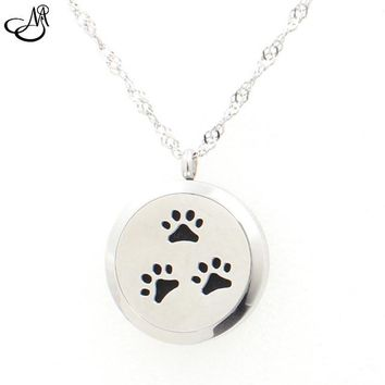 The Oily Essentials Aromatherapy Dog Paws Sterling Silver Pendant with Muli Colors Felt Pads 20mm