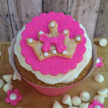 Pretty Gold & Hot Pink Fondant Cupcake Toppers fit for a Princess! Set of 12 (one dozen) 100% edible!