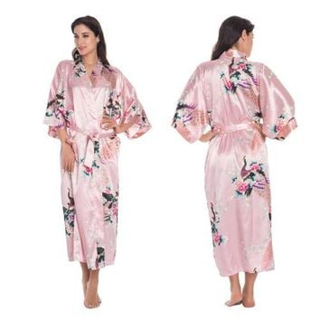 Silk Satin Kimono Robe Wedding Bride Bridesmaid Womens Floral Bathrobe Sleepwear