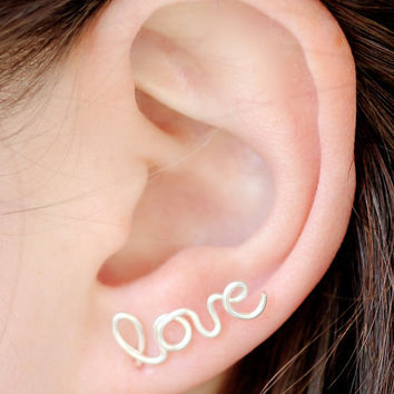 Love Earring, Sterling Silver Plated Love Stud Earring, Cartilage, Single, Word, Handwritten, Cursive, Affirmation, Ear Cuff, Artisan Tree
