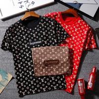 LV X Supreme Women Man Casual Print Sport T-Shirt Top Tee