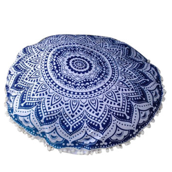 vintage Indian Large Mandala Floor Cushion Cover Pillows case Round Bohemian