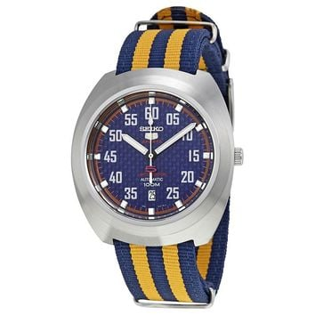 Seiko 5 Sports Blue Dial Nylon Mens Watch SRPA91K1