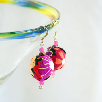 Chloe Cotton Upcycled Fabric Rag Bag Earrings by BoutiqueVintage72