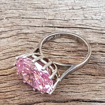Vintage Cocktail Ring Sterling Silver With A Big Pink Cubic Zirconia , Ladies Statement Ring  , Gifts For Her