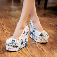 Big Small Size 32~43 Fashion High Quality Spring Fashion Womens Ladies Casual Patent Office Wedge Heel Work Party Court Shoes