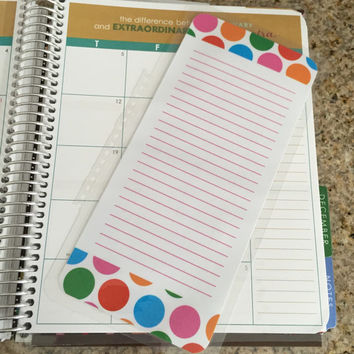 FREE SHIPPING Colorful Polka Dot To Do Laminated Dashboard Insert for Erin Condren Life Planner - clips right into coils!