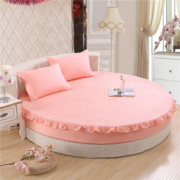 Princess round sheet 100% cotton quilted fitted sheet 3pcs/set circle elastic bed cover king, super king size thick cotton pad