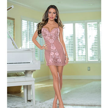 Lace Up Back Chemise Antique Rose Lg