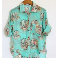 Skulls and Flowers Turquoise Blouse - My Closet