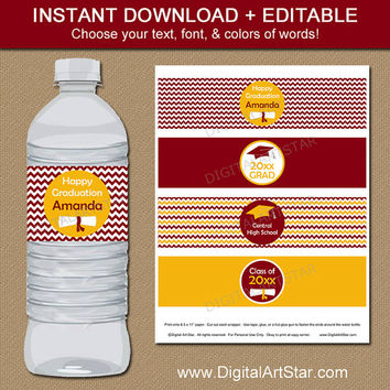 Burgundy & Gold Graduation Water Bottle Labels Party Printable - EDITABLE Graduation Party Supplies - Graduation Party Ideas Burgundy Yellow