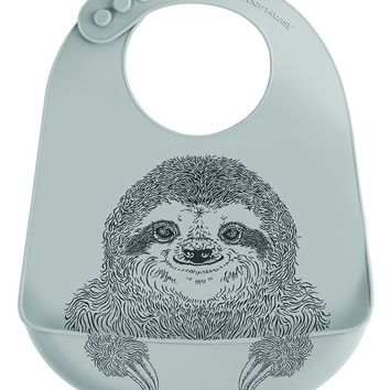 Modern Twist, 100% Pure Silicone Baby Bucket Bib, Sloths, Grey