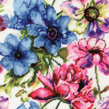 """Watercolor Floral Needlepoint Kit 12""""X12"""" Stitched In Acrylic Yarn"""