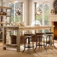 Salvaged Wood Kitchen Island | Rectangular Dining Tables | Restoration Hardware