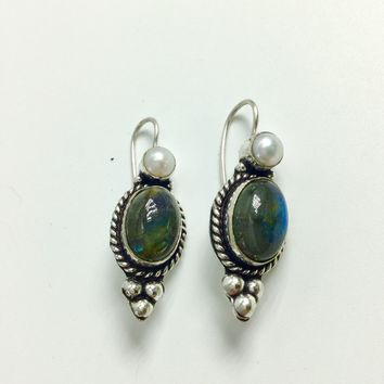 Labradorite and Pearl Silver Earrings