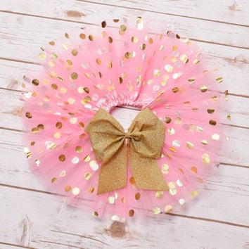Pink and Gold Tutu, Birthday Tutu, Baby Tutu, Toddler Tutu, Girls Tutu, Cake Smash Tutu, Cake Smash Outfit Girls, Baby Tutu Skirt,Tutu Dress