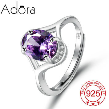 Christmas Pure 925 Sterling Silver Jewelry For Women Simple Cute Fashion Alexandrite CZ Diamond Rings Real Finger Ring Vintage