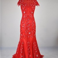 Mermaid Lace Beading Appliques Floor Length Red Prom Dress, Evening Dress