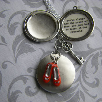 Wizard of Oz Dorothy Ruby Slippers Locket Necklace You've always had the power you just had to learn it for yourself Graduation gift