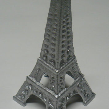Eiffel Tower Metal Cast Iron Painted Metallic Silver French Chic Decor, Paris