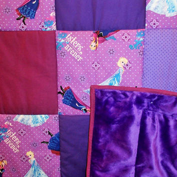 Disney Frozen Purple, Light Purple Poke Dot, Mauve, Snowflake, Anna and Elsa, Pink Minky, Machine Quilted Handmade Toddler Quilt