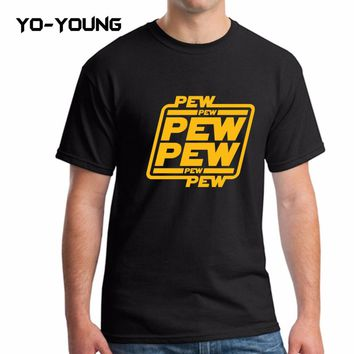 "Yo-Young Men T Shirts Star War Funny Letters Design ""PEW PEW PEW"" Golden PU Printed 100% 180g Combed Cotton Casual T Shirts"