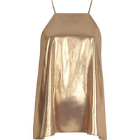 River Island Womens Gold metallic silky cami