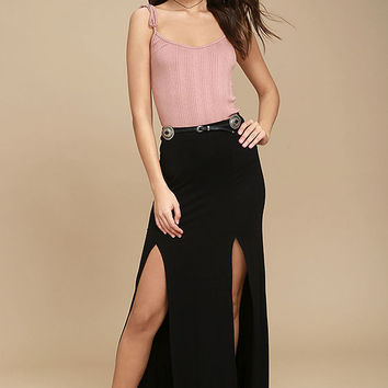 Come on Over Black Maxi Skirt