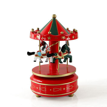 Vintage Wooden Merry-Go-Round Carousel Music Box Kids Children Girls Christmas Birthday Gift Toy Wedding Decoration U0919