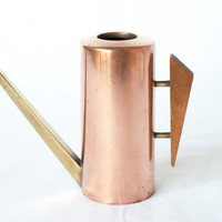 COPPER WATERING CAN, with Teak Handle & Brass Spout, Cactus, Midcentury Modern, Danish Modern, Made in 1950s, from Switzerland