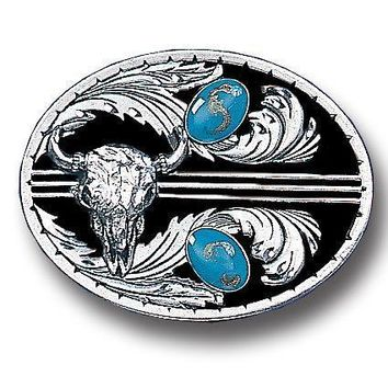 Sports Accessories - Turquoise Stones with Buffalo Skull (Diamond Cut) Enameled Belt Buckle