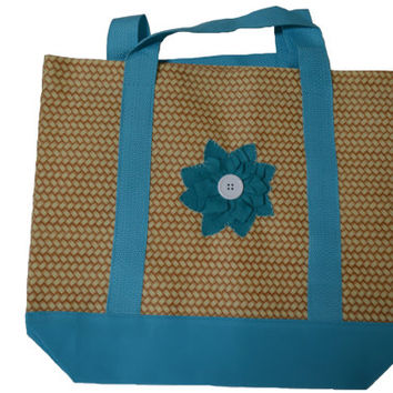 Beach Bag, Tote Bag, Large Purse, Canvas Polyester, Wool Felt, Flower, Floral, Gift for Her, Market Bag, Knitting Organizer, Carry Bag