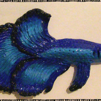 Blue Halfmoon Betta Fish Polymer Magnet