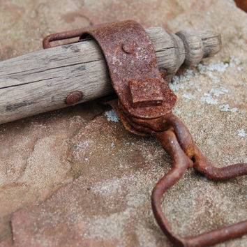 "Iron Wood Harness Yoke, Antique 42"" Singletree Harness, Rusty Metal Weathered Wood Rustic Ox Horse Mule Plow Harness Evener, Primitive"
