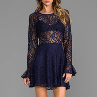 For Love & Lemons Curtsey Lace Mini Dress in Navy