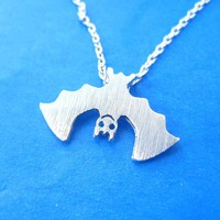 Adorable Upside Down Bat Shaped Animal Charm Necklace in Silver | DOTOLY