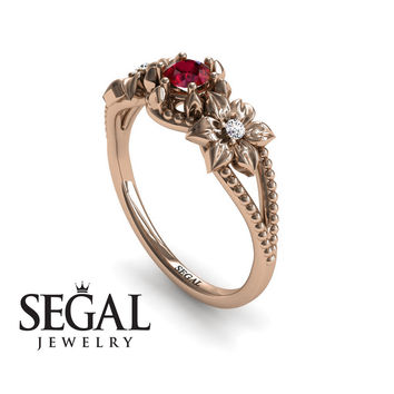 Unique Engagement Ring 14K Red Gold Flowers Art Deco Filigree Ring Ruby With White diamond - Kennedy