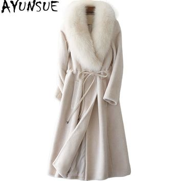 AYUNSUE Women's Fur Coat Long Sheep Shearling Jacket With Natural Fox Fur Collar Real Wool Coats Winter Jackets for Women YQ1606