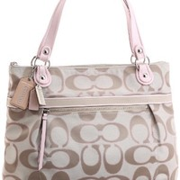 Coach Poppy Signature Glam Shopper Bag Tote 18979 Light Khaki Pink