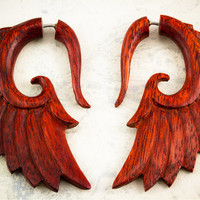 Red Fake Gauges Nava Wings Blood Wood Earrings by TribalStyle
