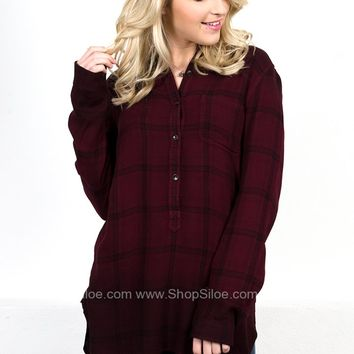 Dear John Wine Plaid Tunic