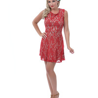 Red Dust Lace Flocked Berkeley Dress