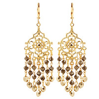 Fringe Chandelier Earrings, Pyrite