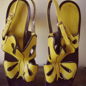 ooak 60s yellow butterfly sandals vintage cutout hippie summer shoes open toes size 8 boho slingback stacked wood heel festival unique 1960s